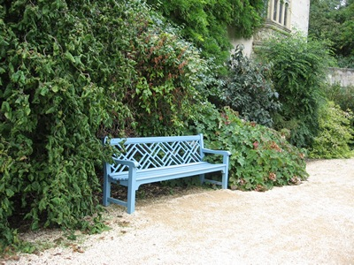 Jane Austen Tour 2013 blue bench St. John's College, Oxford