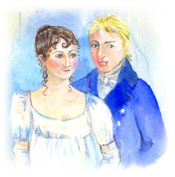 Painting of Jane Austen and Tom Lefroy by Jane Odiwe