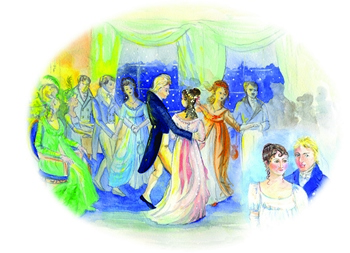 Art print of Jane Austen and Tom Lefroy dancing at Ashe ball by Jane Odiwe