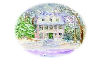 Art print of Steventon Rectory in winter by Jane Odiwe