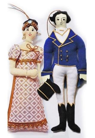Elizabeth and Darcy doll ornaments