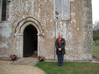 Laurel Ann at St. Nicholas Church, Steventon during Jane Austen Tour 2013