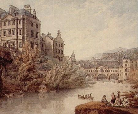 Thomas Hearne, View of Bath from Spring Garden (1790)