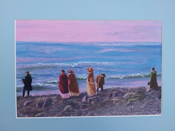 By the Seaside at Lyme pastel by Shannon Winslow