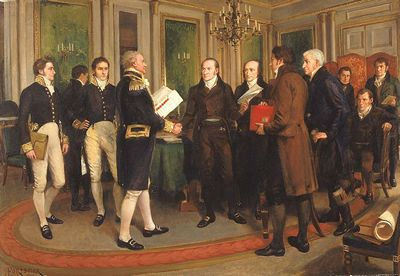 Signing of the Treaty of Ghent 1814 by Amédée Forestier