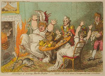 Gilray - muslin dresses fire