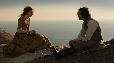 Poldark Season One Demelza and Ross cliffside