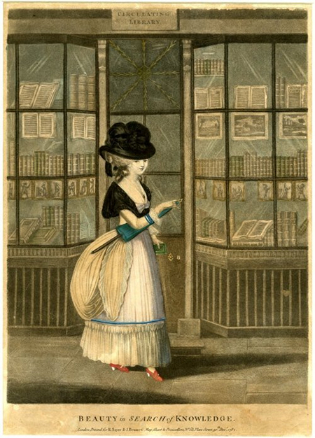 """An illustration """"A Beauty in Search of Knowledge"""" derived from a print by John Raphael Smith, 1782 (c) British Library"""