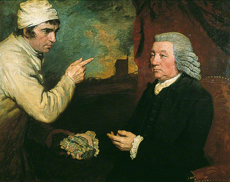 Painting 'A Gentleman and a Miner,' depicting Captain Morcom and Thomas Daniell, by John Opie, 1786, (c) Royal Institution of Cornwall