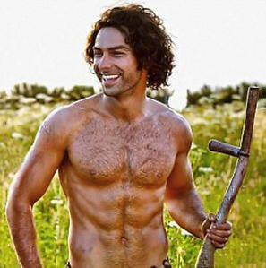 Actor Aidan Turner scything in Poldark Season One Episode Three