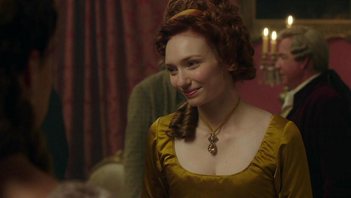 Image of Demelza Poldark (Eleanor Tomlinson) at the Warleggan ball in Poldark (c) 2015 Mammoth Screen, Ltd for Masterpiece PBS