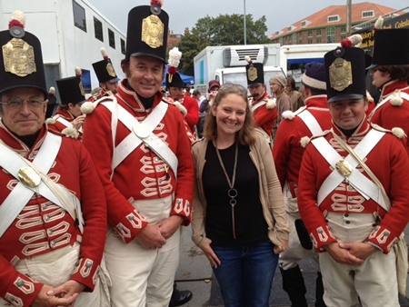 Hannah Greig with redcoats from Death Comes to Pemberley (2013)