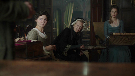 The Poldark ladies: Verity (Ruby Bentall), Aunt Agatha (Caroline Blakiston) and Elizabeth (Heida Reed). Image (c) Mammoth Screen, Ltd for Masterpiece PBS