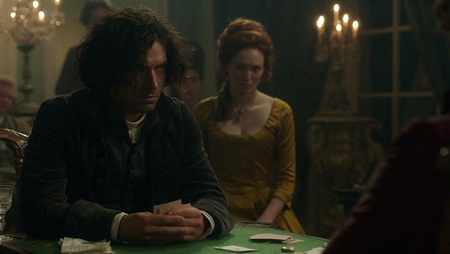 Ross Poldark (Aidan Turner) drinks and gambles at the Warleggan ball. Image (c) 2015 Mammoth Screen, Ltd. for Masterpiece PBS