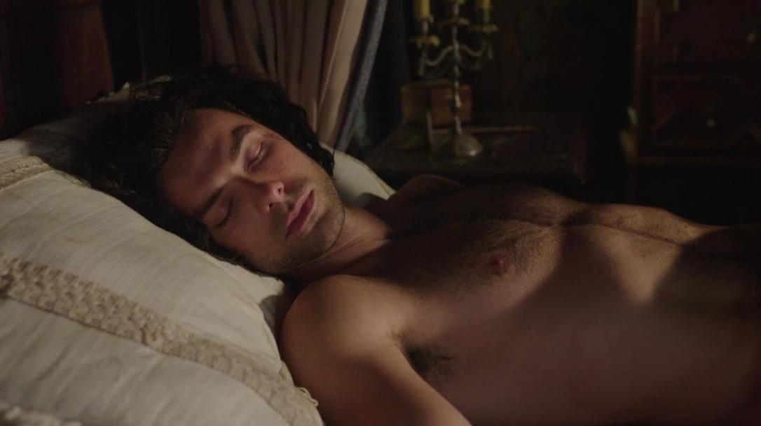Aidan Turner as Ross Poldark sleeping in Poldark Season One Episode Three