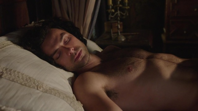 Aidan Turner as Ross Poldark sleeping in Poldark Season One Episode Three