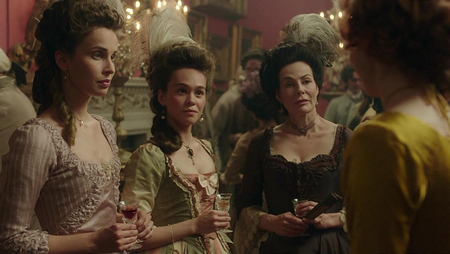 Three refined Cornish ladies Elizabeth Poldark (Heida Reed), Ruth Treneglos (Harriet Ballard)  and Mrs. Chynoweth (Sally Dexter). Image (c) 2015 Mammoth Screen, Ltd. for Masterpiece PBS