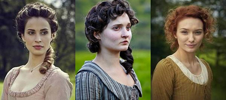 Montage of three Poldark ladies: Elizabeth (Heida Reed), Verity (Ruby Bentall) and Demelza (Eleanor Tomlinson) in Poldark (c) 2015 Mammoth Screen, Ltd. for Masterpiece PBS