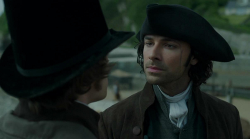 A gentleman's aspirations: Ross Poldark (Aidan Turner) and George Warleggan (Jack Farthing) have words. Image (c) 2015 Poldark, Mammoth Screen, Ltd. for Masterpiece PBS