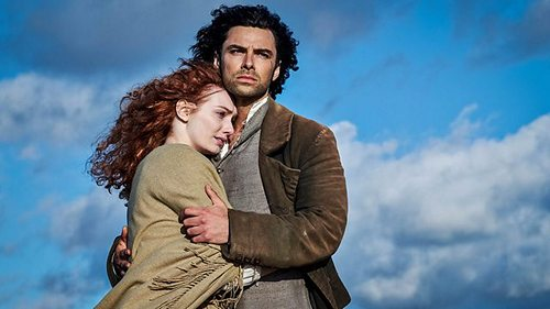 Demelza (Eleanor Tomlinson) and Ross (Aidan Turner) cliffside. Image (c) 2015 Mammoth Screen, Ltd. for Masterpiece PBS