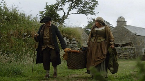 Jud (Phil Davis) and Prudie (Beatie Edney) leave Nampara in Poldark. Image (c) 2015 Mammoth Screen, Ltd. for Masterpiece PBS