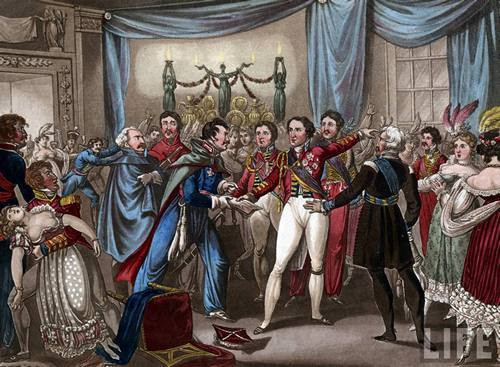 Prussian officer informs Wellington of Napoleons advancement 1815 x 500