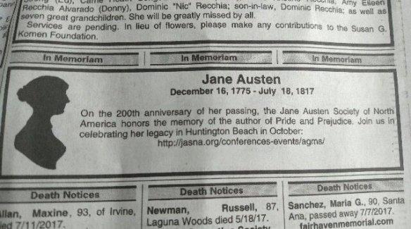 Jane Austen memoriam in O. C. Register 18 July 2017
