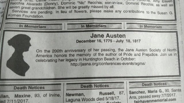 Jane Austen memoriam in O. C. Register 18 July 2017