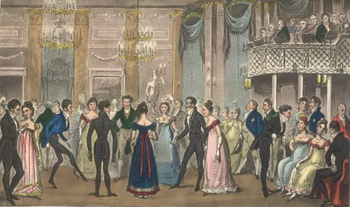 Robert and George Cruikshank for Egan Pierce Highest Life in London Tom and Jerry Sporting a Toe among the Corinthiians at Almacks in the West (1823)