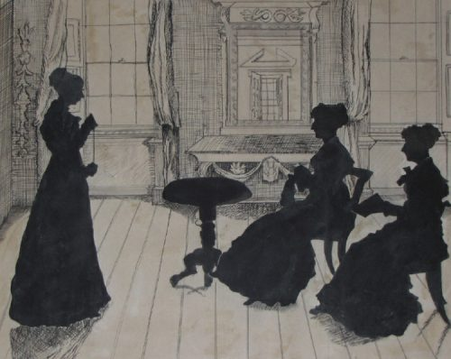 Silhouette of Jane Austen's niece Marianne Austen-Knight and her two sisters at Godmersham Park, Kent
