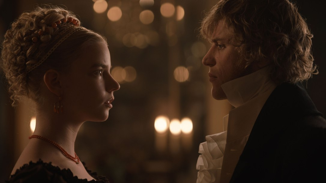 """Anya Taylor-Joy (left) as """"Emma Woodhouse"""" and Johnny Flynn (right) as """"Mr. Knightley"""" in director Autumn de Wilde's EMMA, a Focus Features release. Credit : Focus Features 2020"""
