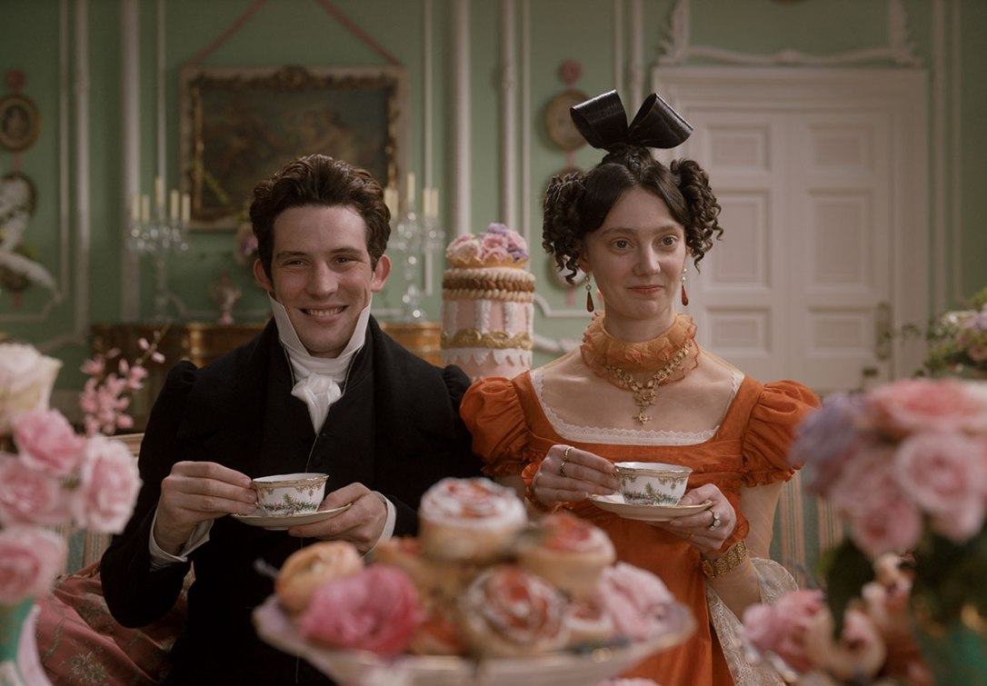 Mr. and Mrs. Elton dressed in their finery. Focus Features © 2020