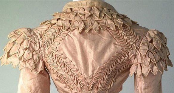 Pink spencer jacket back, Chertsey Museum c1815